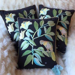 🆕Anthropologie Embroidered Parakeet Pillows